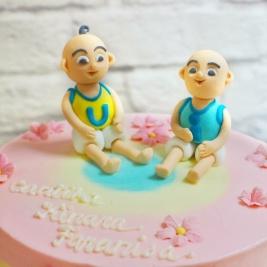 Upin Ipin character birthday cake